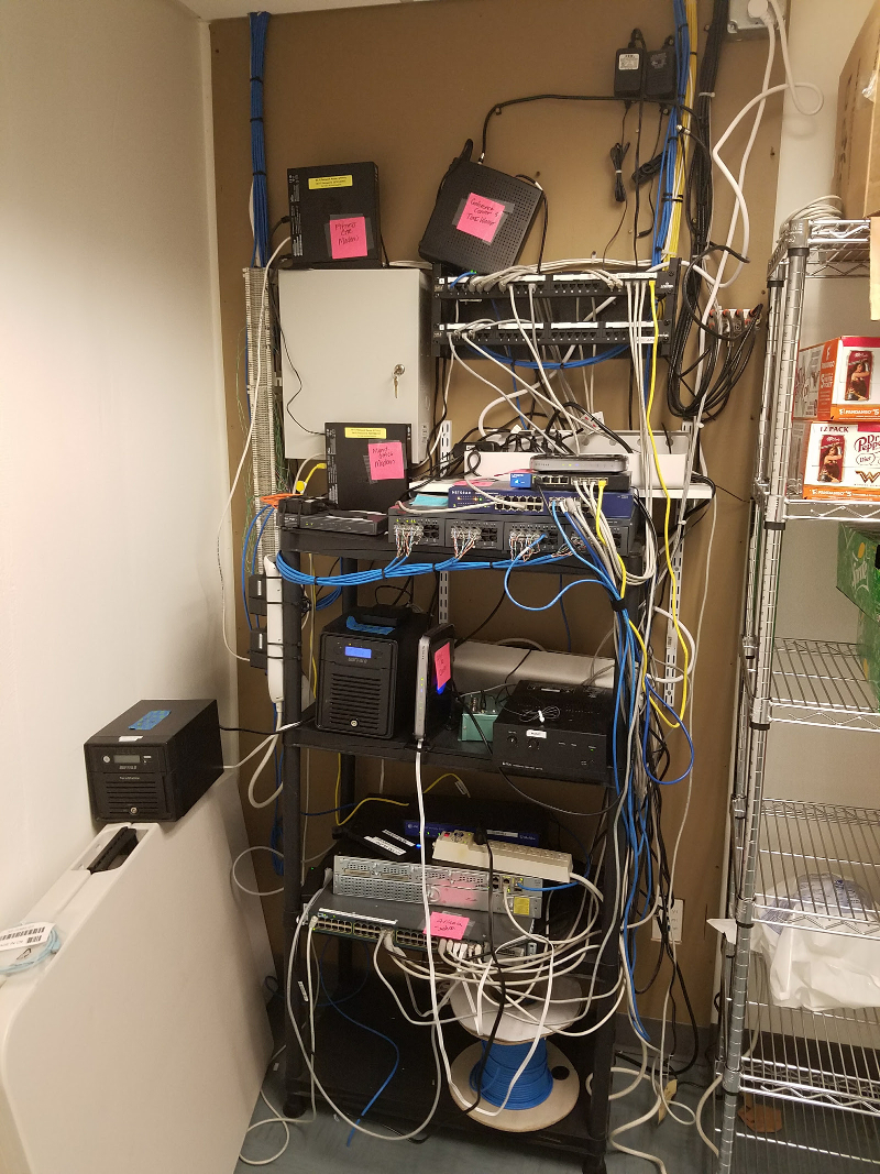 before server rack was cleaned up and organized